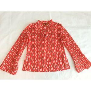 Tory Burch Women's Size 6 Tunic Top Shirt Orange